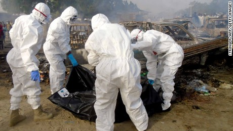 Forensics workers at the scene of a blast in Maiduguri on February 17, 2017. As many as seven suicide bombers, including six women, tried to attack the city, but only succeeded in blowing themselves up, emergency services officials said.