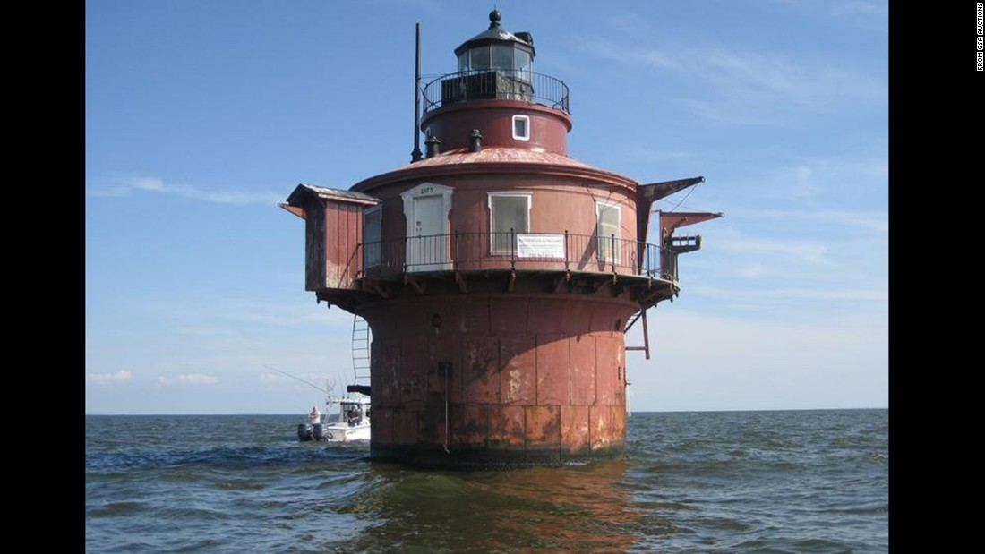 The Craighill Channel Lower Range Front Light Station sits about 2 miles offshore in Chesapeake Bay, Maryland. The top of the structure is about 25 feet above the water level.