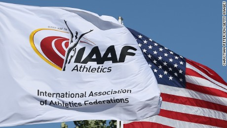 EUGENE, OR - JULY 26:  General view as flags of the IAAF and USA fly during day five of the IAAF World Junior Championships at Hayward Field on July 26, 2014 in Eugene, Oregon.  (Photo by Christian Petersen/Getty Images)