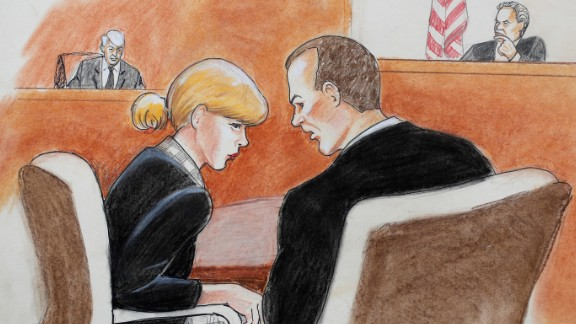 In this courtroom sketch, pop singer Taylor Swift, front left, confers with her attorney as David Mueller, back left, and the judge look on during a civil trial in federal court Tuesday, Aug. 8, 2017, in Denver. Mueller, a former radio disc jockey accused of groping Swift before a concert testified Tuesday that he may have touched the pop superstar