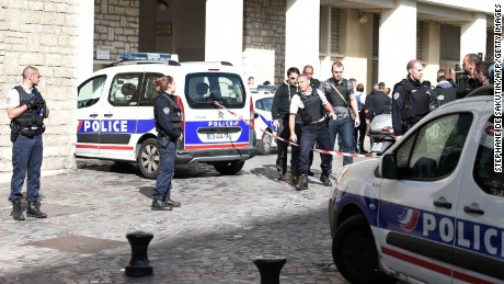 Police at the site of Wednesday's incident in Paris.