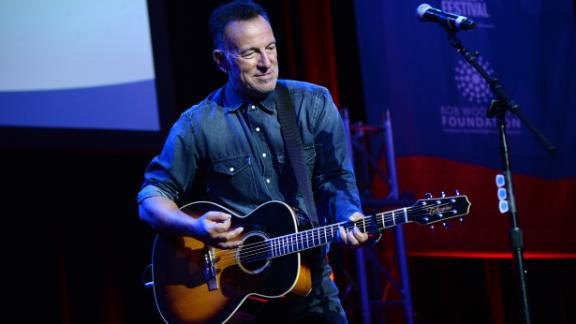Bruce Springsteen performs on stage at the 10th Annual Stand Up for Heroes event at The Theater at Madison Square Garden on November 1, 2016 in New York City.