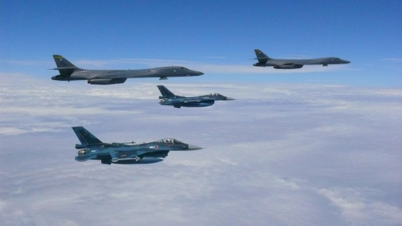 Two U.S. Air Force B-1B Lancers flew from Andersen Air Force Base, Guam, for a 10-hour mission near Japan, the East China Sea and the Korean peninsula, August 7.