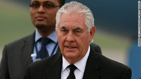 US Secretary of State Rex Tillerson arrives at the Royal Malaysian Air Force base in Subang on August 8, 2017. Tillerson arrived in Malaysia on August 8 following a brief stop in Bangkok after attending the 50th Association of Southeast Asian Nations (ASEAN) regional security forum in Manila.  / AFP PHOTO / MANAN VATSYAYANA        (Photo credit should read MANAN VATSYAYANA/AFP/Getty Images)