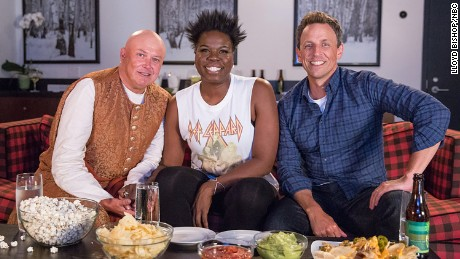 "Conleth Hill, Leslie Jones, Seth Meyers met up during ""Game of Jones"" on ""Late Night."""