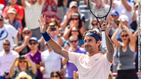 MONTREAL, QC - AUGUST 09:  Roger Federer of Switzerland celebrates after defeating Peter Polansky of Canada during day six of the Rogers Cup presented by National Bank at Uniprix Stadium on August 9, 2017 in Montreal, Quebec, Canada.  Roger Federer of Switzerland defeated Peter Polansky of Canada 6-2, 6-1.  (Photo by Minas Panagiotakis/Getty Images)