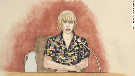A courtroom sketch of Taylor Swift on the stand on Thursday, August 10.