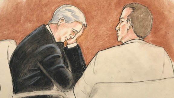A courtroom sketch shows David Mueller with his attorney in court on Thursday.