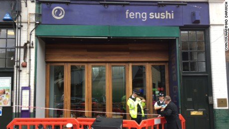 Police cordoned off the Feng Sushi restaurant in Borough Market on Thursday.