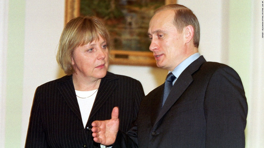 Merkel meets Russian President Vladimir Putin in 2002, one of many meetings they would have over the years. Merkel speaks Russian fluently, while Putin speaks German.