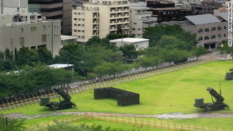 PAC-3 Patriot missile units are deployed in the compound of Defense Ministry in Tokyo, Thursday, Aug. 10, 2017. North Korea claims it is in the final stages of preparing a plan to launch four intermediate-range ballistic missiles over Japan and into waters just off the island of Guam, where about 7,000 U.S. troops are based. (AP Photo/Shizuo Kambayashi)