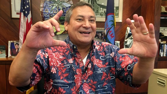 """Guam Gov. Guam Eddie Baza Calvo speaks to the media in his office in Adelup, Guam, Friday, Aug. 11, 2017. The small U.S. territory of Guam has become a focal point after North Korea's army threatened to use ballistic missiles to create an """"enveloping fire"""" around the island. The exclamation came after President Donald Trump warned Pyongyang of """"fire and fury like the world has never seen."""" (AP Photo/Tassanee Vejpongsa)"""