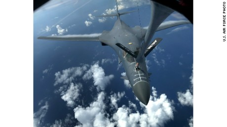 Two U.S. Air Force B-1B Lancers assigned to the 37th Expeditionary Bomb