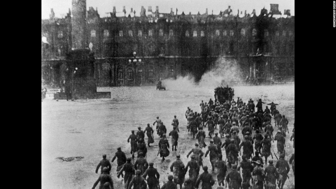 "The 1927 film ""October"" re-enacts the Bolshevik fighters overthrowing the Provisional Government of Alexander Kerensky in the courtyard of the Winter Palace in Petrograd on November 7, 1917."