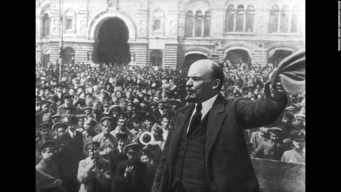 Vladimir Ilyich Lenin addresses a crowd in Moscow. As leader of the Bolsheviks, he presided over the October Revolution that ousted the provisional government and established the foundation of Communist rule under what became the Soviet Union.