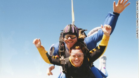 Hope threw elaborate parties when she claimed to have beaten cancer. One involved skydiving.