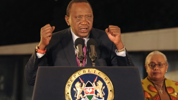 Kenyan President Uhuru Kenyatta speaks last month in Nairobi after election results are announced.