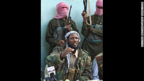 Mukhtar Robow speaks during a 2008 news conference in Mogadishu.