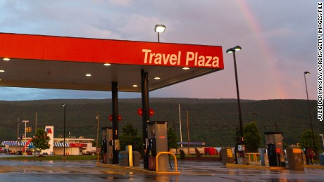 A Flying J Travel Plaza truck rest-stop off route 80 near Beech Creek, Pennsylvania.