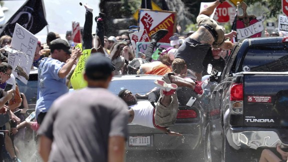 Counterprotesters were hurled into the air after they were struck by the car.