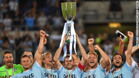 Lazio players celebrate winning the Italian Super Cup