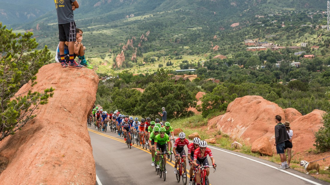 The iconic sandstone formations known as the Garden of the Gods are at the highest elevation of the Colorado Springs stage.