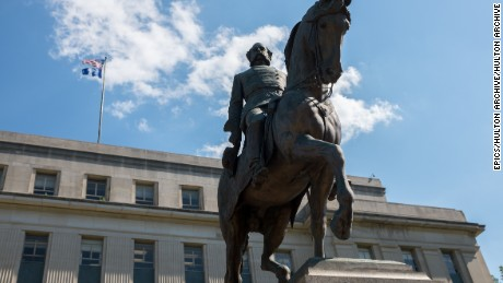 A statue of Confederate cavalry leader, slave owner and Democratic politician Wade Hampton III (1818-1902) on horseback situated in the grounds of South Carolina State House. Construction work first began on the State House in 1851 and was completed in 1907, it was designated a national historic landmark in 1976 for its significance in the post-civil war reconstruction era. (Photo by Epics/Getty Images)