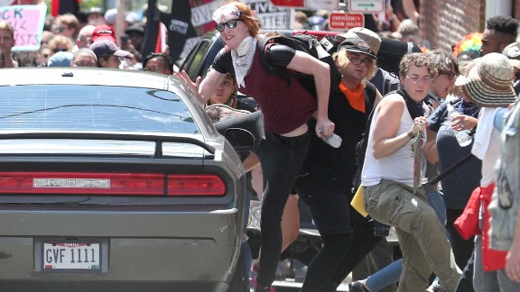 A driver plows into a crowd in Charlottesville, where counterprotesters were marching.