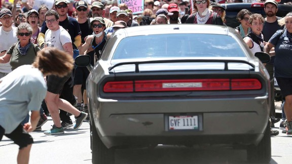 Ryan Kelly captured this image of a car barreling toward a crowd in Charlottesville on Saturday.