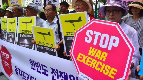 Anti-war activists stage a rally ahead of annual Ulchi Freedom Guardian (UFG) joint US-South Korea military exercises in August 2016.