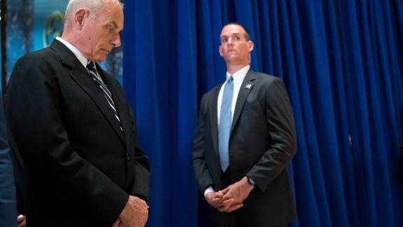 White House Chief of Staff Gen. John Kelly looks on as US President Donald Trump speaks at Trump Tower, August 15, 2017 in New York City.