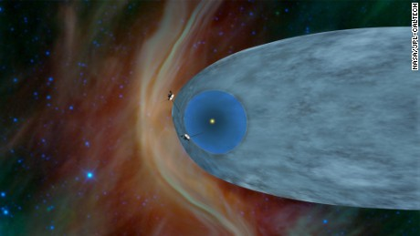 This artist's concept shows the general locations of NASA's two Voyager spacecraft.