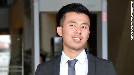 Khong Tam Thanh, one of the three British men accused in Singapore, leaves court last week.