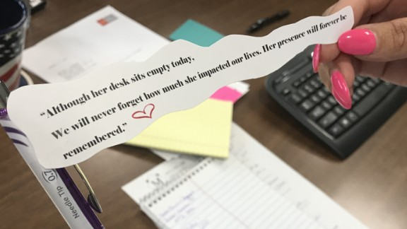 Staff at the Miller Law Group received pens with  a quote Tuesday when they returned to work.