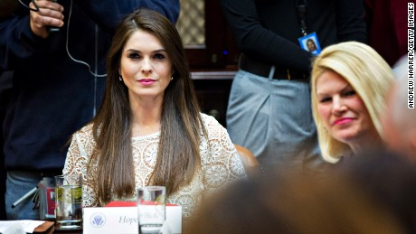 Hope Hicks, White House director of strategic communications, listens while meeting with women small business owners with U.S. President Donald Trump, not pictured, in the Roosevelt Room of the White House on March 27, 2017 in Washington, D.C.