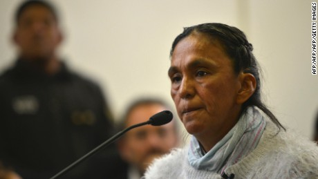Milagro Sala, the imprisoned leader of the Tupac Amaru neighborhood association, speaks during her court sentence in San Salvador de Jujuy, Argentina on December 28, 2016.  Sala received a three-year suspended sentence on December 28, 2016 for damages after calling for a protest against Jujuy Governor Gerardo Morales, an ally of Argentine President Mauricio Macri. / AFP / TELAM / EDGARDO A. VALERA        (Photo credit should read EDGARDO A. VALERA/AFP/Getty Images)