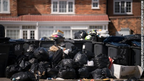 BIRMINGHAM, ENGLAND - AUGUST 15:  Household rubbish begins to pile high on the streets of Alum Rock in Birmingham as the refuse collector strike enters its sixth week on August 15, 2017 in Birmingham, England. Rubbish collectors in Birmingham have been taking industrial action over a dispute with Birmingham council over job losses.  (Photo by Christopher Furlong/Getty Images)