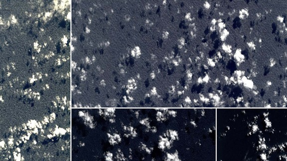 Four satellite photos taken shortly after MH370 vanished in March 2014.
