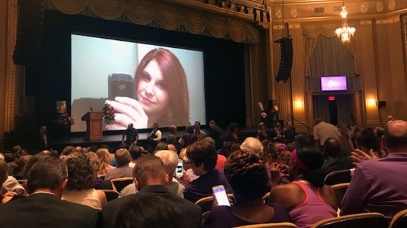 A slideshow of Heather Heyer's pictures was shown as people took their seats at her memorial service.