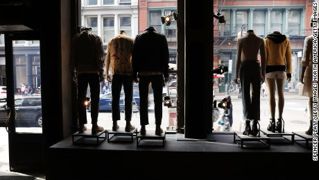 NEW YORK, NY - APRIL 17:  Manikins sit in the window of a clothing store in lower Manhattan on April 17, 2017 in New York City. As American's shopping habits continue to migrate online, brick-and-mortar stores across the country are closing at an increased rate. For the first time in nearly two years, retail sales declined two months in a row according to recently released figures from the Commerce Department. Millennials, who often prefer Amazon and other online businesses, are also putting more of their money into vacations and restaurants instead of merchandise.  (Photo by Spencer Platt/Getty Images)