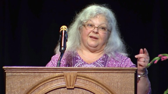 Susan Bro, the mother of Heather Heyer, speaks during the memorial service for her daughter in Charlottesville, Virginia on August 1, 2017.