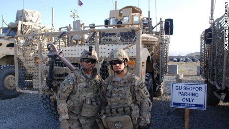 Patrick Flores and Patrick Jesus Flores seen here serving in Afghanistan