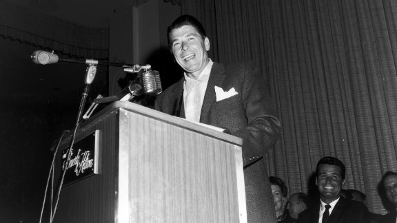 As a younger man, Reagan was a Democrat. Seen here at a Screen Actors Guild event, Reagan served as president of the labor union from 1947 to 1952. In the 1950s, he began to identify more with Republican political candidates -- voting for Dwight Eisenhower in 1952, according to the Ronald Reagan Presidential Foundation. By 1960, Reagan said he was no longer a Democrat and in 1962, he registered as a Republican.