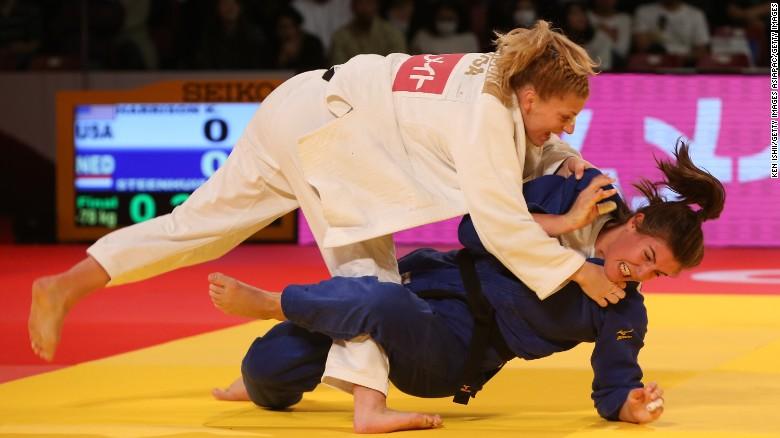 Kayla Harrison of the US throws Guusje Steenhuis of the Netherlands for yuko at Tokyo Metropolitan Gymnasium.