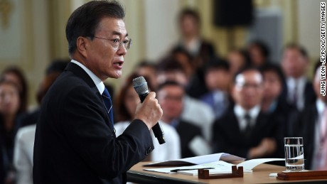 SEOUL, SOUTH KOREA - AUGUST 17:  South Korean President Moon Jae-in speaks during a press conference marking his first 100 days in office at the presidential blue house on August 17, 2017 in Seoul, South Korea.  (Photo by Jung Yeon-Je/Pool/Getty Images)