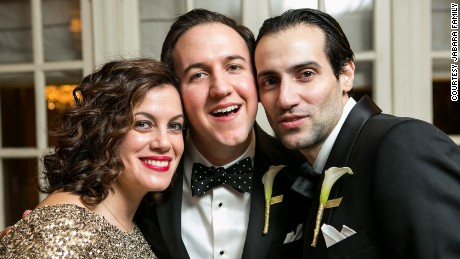 Vicky Jabara with her brothers Rami, center, and Khalid at Rami's wedding.