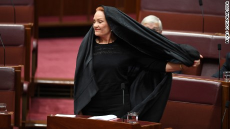 Far-right Australian senator slammed for burqa 'stunt'