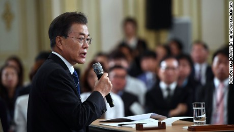 South Korean President Moon Jae-in speaks during a press conference marking his first 100 days in office, August 17, 2017.