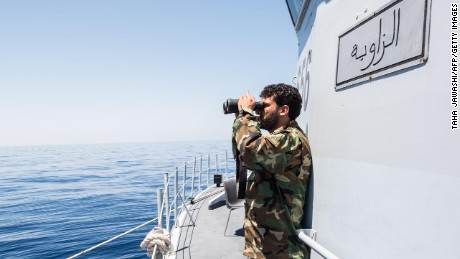 A Libyan coastguardsman patrols the SAR zone between Sabratha and Zawiyah in July 2017.