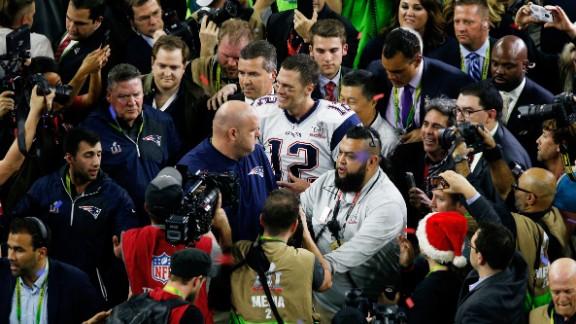 Brady celebrates the New England Patriots' win against the Atlanta Falcons at Super Bowl LI in February 2017.